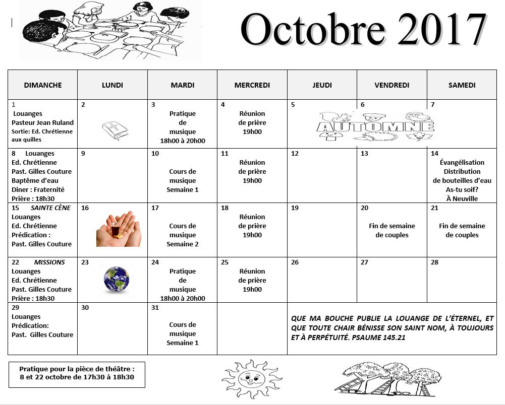 calendrier octobre 2017